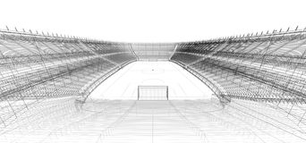 Wire frame of football or soccer stadium. 3d wire frame of football or soccer stadium Royalty Free Stock Images
