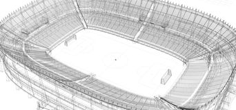 Wire frame of football or soccer stadium royalty free illustration
