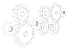 Wire frame gears Royalty Free Stock Photos