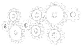 Wire frame gears Stock Photos