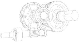 Wire-frame gears with shafts. Close-up. Vector Stock Photography