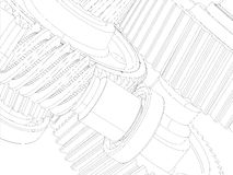 Wire-frame gears with shafts. Close-up. Vector Stock Image