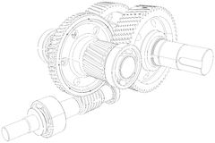 Wire-frame gears with shafts. Close-up. Vector Royalty Free Stock Photography