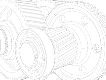 Wire-frame gears with shafts. Close-up. Vector Royalty Free Stock Photo