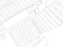 Wire-frame gears with shafts. Close-up. Vector Royalty Free Stock Images