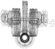 Wire-frame gears with shafts. Close-up. Vector Stock Photos