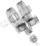 Wire-frame gears with shafts. Close-up. Vector Royalty Free Stock Image