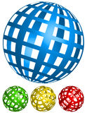 Wire-frame, grid spheres. 4 angles in 4 colors Royalty Free Stock Images