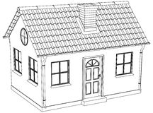 Wire-frame house. Vector illustration Stock Photo