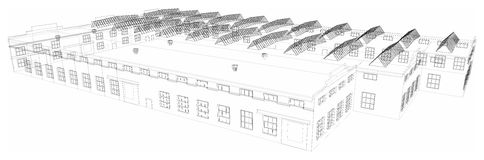 Wire-frame industrial building. Vector Stock Images