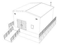Wire-frame industrial building. On the white background. 3d illustration. Wire-frame style Stock Image