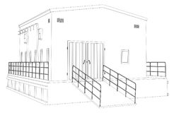 Wire-frame industrial building. On the white background. Vector rendering of 3d. Wire-frame style vector illustration