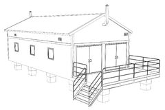 Wire-frame industrial building. On the white background. Vector rendering of 3d. Wire-frame style stock illustration