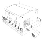 Wire-frame industrial building. On the white background. Vector rendering of 3d. Wire-frame style royalty free illustration