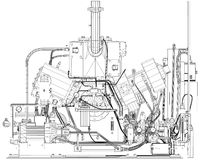 Wire-frame industrial equipment engine. EPS 10 Royalty Free Stock Photography
