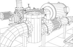 Wire-frame  industrial equipment oil filter Stock Photography