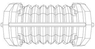 Wire-frame  industrial equipment oil flowmeter Stock Image