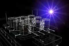 Wire-frame industrial tanks with light on dark Stock Photos