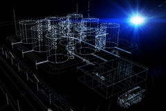 Wire-frame industrial tanks with light on dark Stock Photo