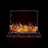 Wire frame laptop in the colored smoke Royalty Free Stock Photos