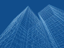Wire frame lines over blue background. 3d. Abstract digital graphic background. Modern skyscrapers perspective. Wire frame lines over blue background. 3d render vector illustration