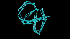 wire frame model of torus knot - 3D Rendering stock footage