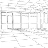 Wire-frame office room. EPS 10 vector format Stock Photography