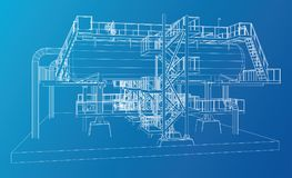 Wire-frame Oil and Gas industrial equipment. Tracing illustration of 3d Stock Photography
