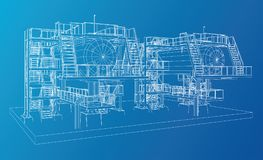 Wire-frame Oil and Gas industrial equipment. Tracing illustration of 3d Stock Image