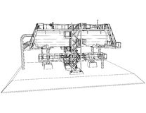 Wire-frame Oil and Gas industrial equipment. Stock Photos