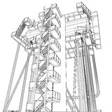 Wire-frame Oil and Gas industrial equipment Royalty Free Stock Images