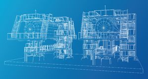 Wire-frame Oil and Gas industrial equipment. Tracing illustration of 3d Royalty Free Stock Photography