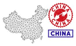 Polygonal 2D China Map and Grunge Stamps stock illustration