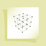 Wire frame Polygonal Element. Cube with Lines and Dots. Vector illustration Stock Images
