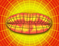 Wire frame polygonal female lips. Royalty Free Stock Image