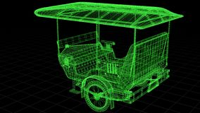 Wire-frame view of Tuk Tuk In Asia fully 3D rendered. Wire-frame and X-Ray view of Tuk Tuk one of Asia famous transportation vehicle especially in Thailand and royalty free illustration