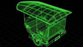 Wire-frame view of Tuk Tuk In Asia fully 3D rendered. stock illustration