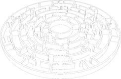 Wire-frame round intricate labyrinth. Vector Royalty Free Stock Photography