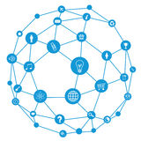 Wire frame sphere. Social network concept Royalty Free Stock Photo