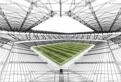 Wire frame stadium. Typical design of stadium with grass - field Royalty Free Stock Photography