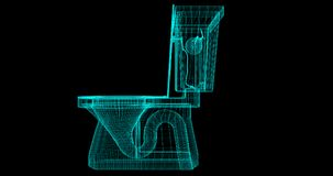 A Wire-Frame of a toilet, 3D rendered with my own design. royalty free illustration