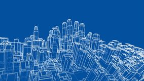 Wire-frame Twisted City, Blueprint Style. Vector. Wire-frame Twisted City, Blueprint Style. 3D Rendering Vector Illustration. Architecture Design Background royalty free illustration