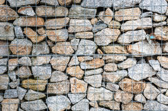 Wire Gabion Rock Fence. Metal Cage filled with rocks. Royalty Free Stock Image