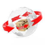 Wire globe with free shipping cardboard box Stock Photos