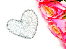 Wire heart symbol on white background Stock Photos