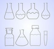 Wire laboratory glass equipment Stock Photos