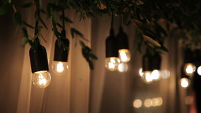 Wire with light bulbs stock video footage