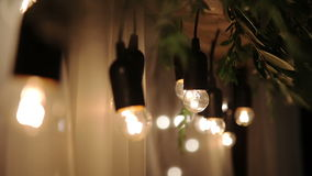 Wire with light bulbs stock footage