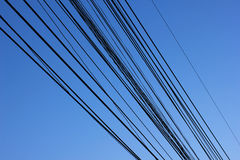 Wire line. And background blue sky Royalty Free Stock Photography