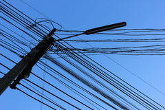 Wire line. Crossing and background blue sky Stock Photography